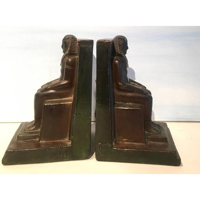 Egyptian Revival Pair of Copper Egyptian Pharaoh Bookends For Sale - Image 3 of 5