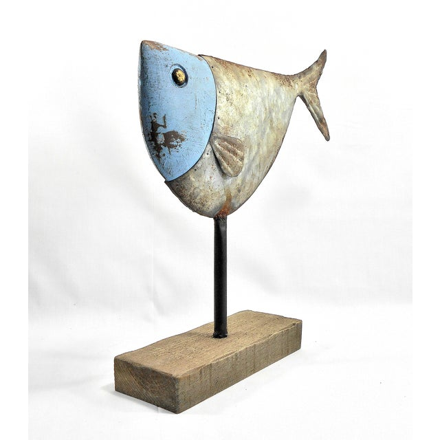 Metal Fish Sculpture on Stand - Image 4 of 6