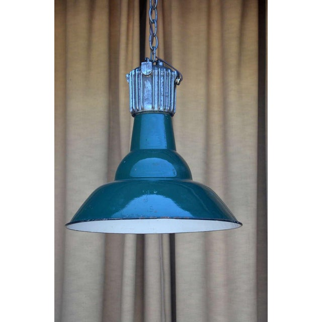 Dark Green French Industrial Workshop Hanging Light For Sale In Los Angeles - Image 6 of 6