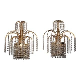 Circa 1950's Retro Brass Crystal Sconces - a Pair For Sale