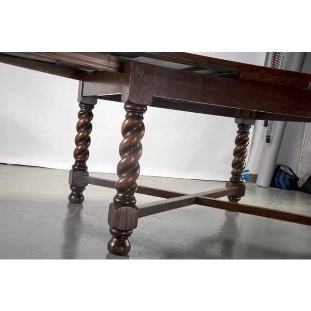 Dutch Oak Refectory Table With Large Barley Twist Legs For Sale - Image 9 of 11