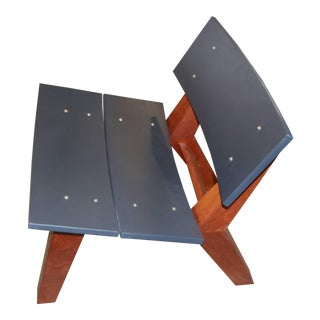 Rob Edley Welborn Prototype Lounge Chair in Wood and Blue Paint For Sale