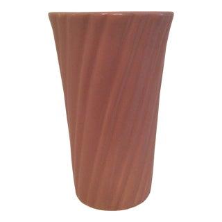 Vintage Pink Bauer Pottery Swirled Vase For Sale