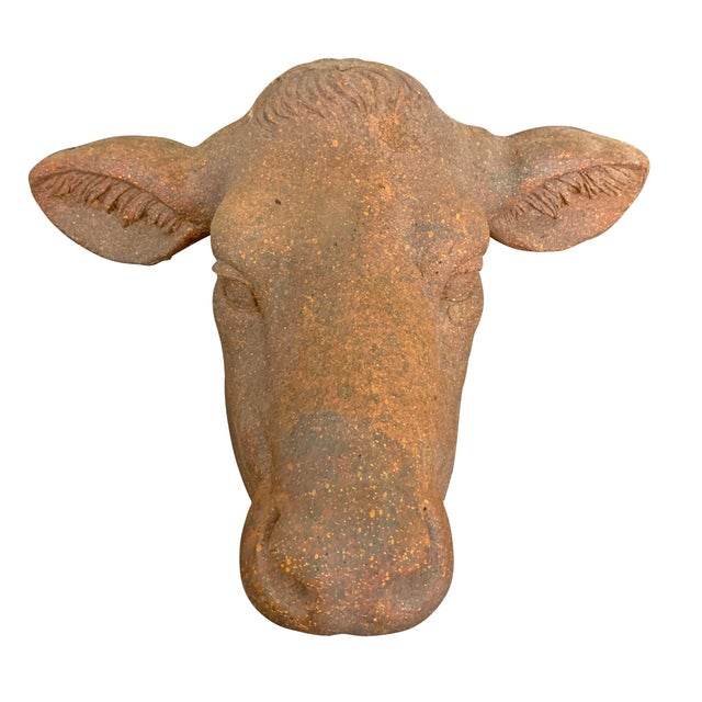 2010s Farmhouse Terra-Cotta Cow Head For Sale - Image 5 of 10