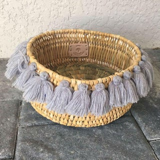 Moroccan Grey Tassel Small Basket Preview