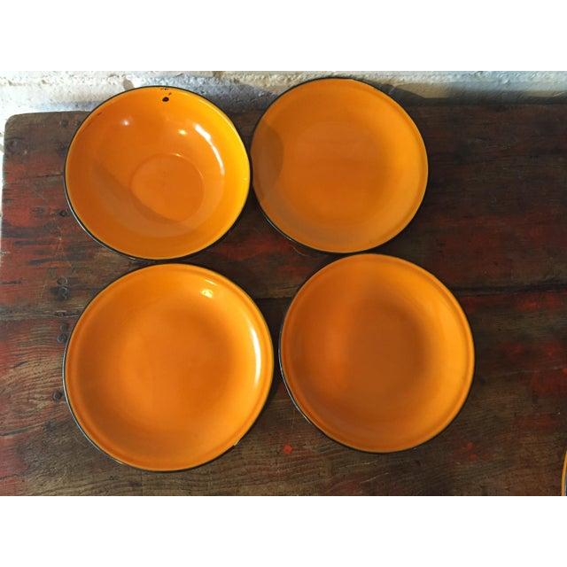 5-Piece Orange & Black Rim Enamelware - Image 4 of 8