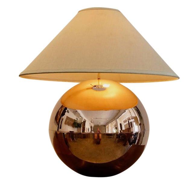 1970s Karl Springer Copper Orb Table Lamp For Sale