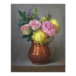 Flowers in the Copper Pitcher For Sale