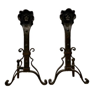 Pair of Arts and Crafts Hand Wrought Andirons C.1890 to 1910 For Sale