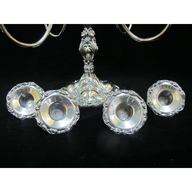 Metal Early 20th Century Art Nouveau Silverplate Spiraling 4 Arm Candelabra Candlestick Holder For Sale - Image 7 of 10