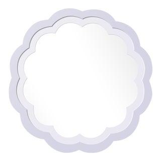 Fleur Home x Chairish Audobon Peony Circle Mirror in Spring Iris, 24x24 For Sale