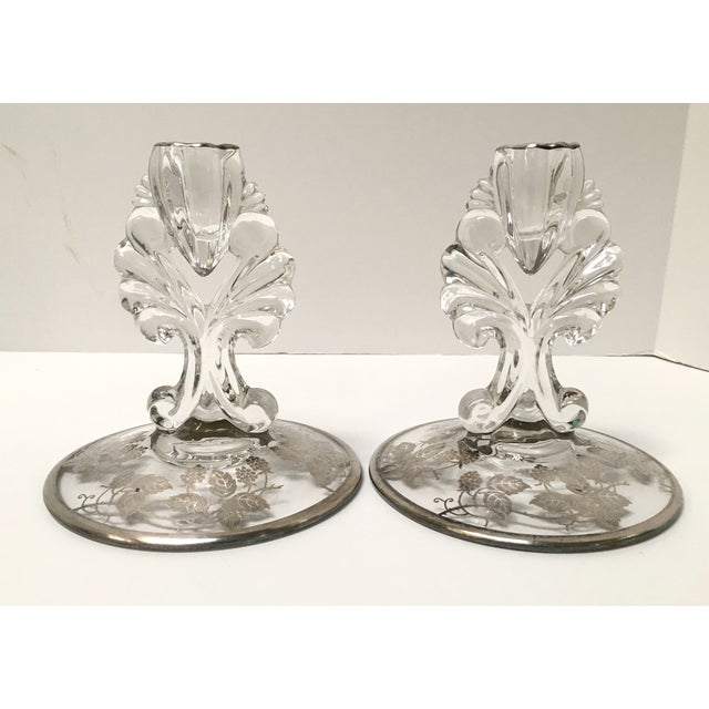Art Deco Silver Glass Candle Holders - PaiR - Image 2 of 8