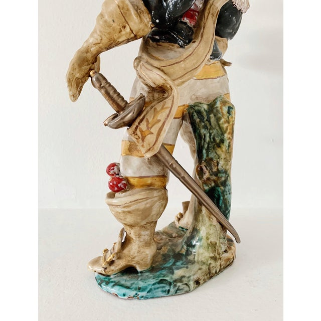 "Yellow 1920s Vintage A. Ciolli Italian Glazed Ceramic ""Musketeer"" Signed Figurine For Sale - Image 8 of 10"