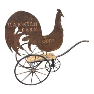 Country Tin Harwich Rooster Sign For Sale