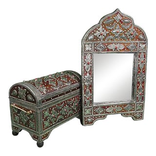 Handmade Moroccan Mirror & Chest For Sale