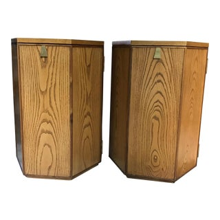 Pair of French Dwell Studio Solid Oak and Brass Accent Side Tables - Retail $2100 For Sale