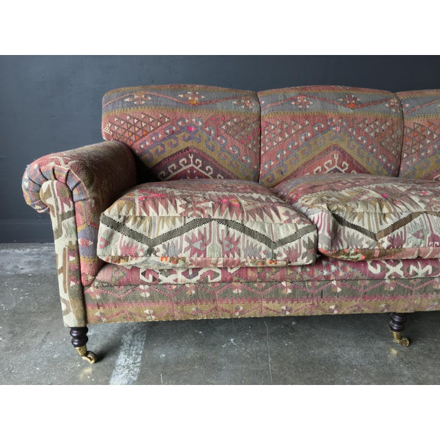 Wood George Smith Roll Arm Kilim Sofa For Sale - Image 7 of 8