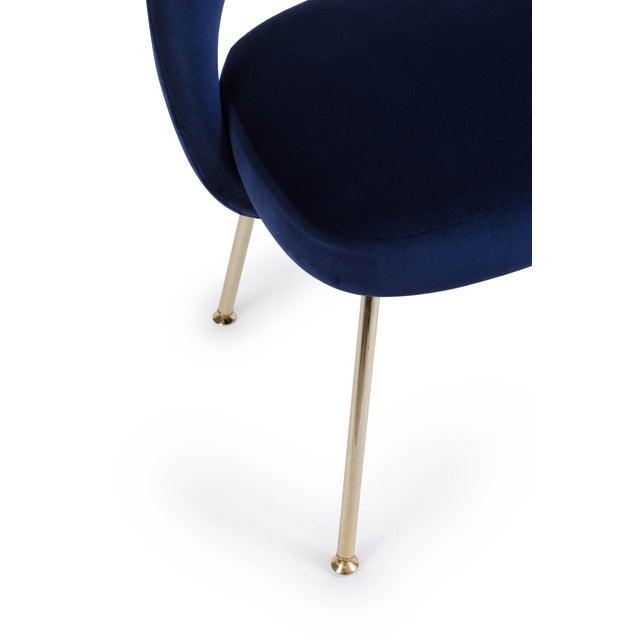 Eero Saarinen Saarinen Executive Armless Chair in Navy Velvet, 24k Gold Edition For Sale - Image 4 of 5