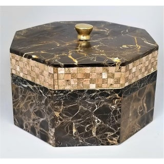 Vintage Maitland Smith Tessellated Italian Portoro Marble Box - Mid Century Modern Palm Beach Boho Chic Jewelry Preview