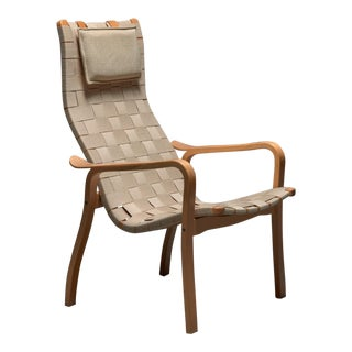 Beech & Webbing Lamino Lounge Chair For Sale