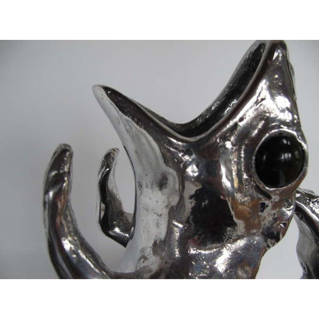A charming frog pitcher by Arthur Court in cast aluminum with jade eyes. Made in the 1970s.