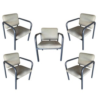 1990s Modernist Tubular Steel Armchair by Kinetics - Set of 5 For Sale