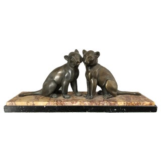French Art Deco Spelter Panthers - A Pair For Sale