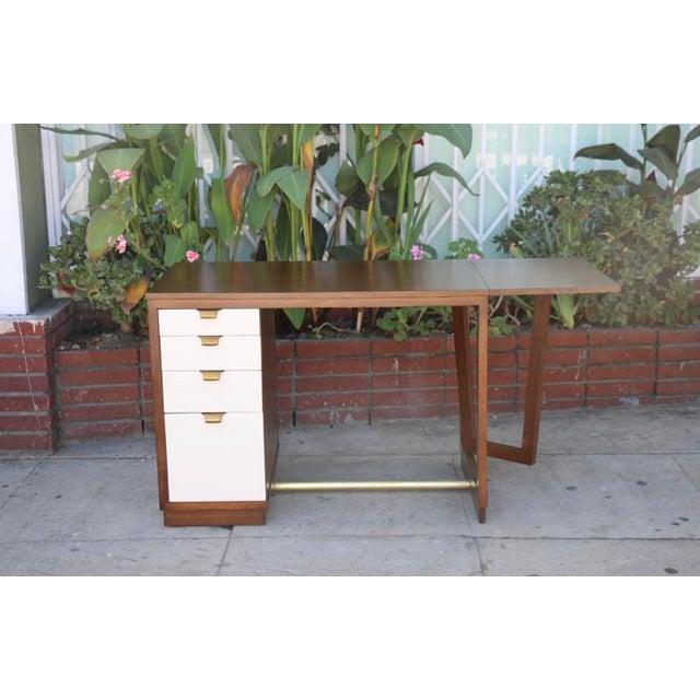 Mid-Century Modern Edward Wormley Drop Leaf Desk For Sale - Image 3 of 13