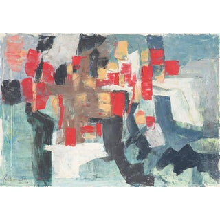 Renn Zaphiropoulos Abstract in Scarlet & Gray, 1964 For Sale
