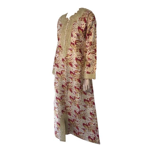 1970s Metallic Brocade Moroccan Caftan, Kaftan Maxi Dress For Sale