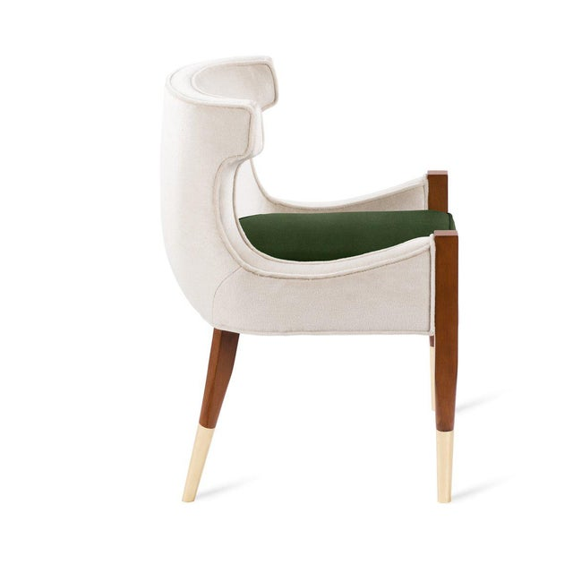 Vaughn Side Chair in Cream Mohair For Sale - Image 4 of 5