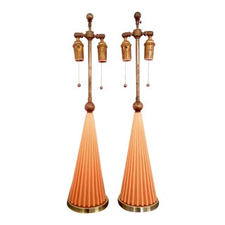 1950s Vintage Light Orange Italian Lamps - A Pair For Sale