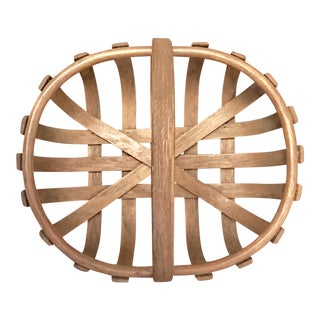 19th Century Rustic Heavy Oak Splint Gathering Basket For Sale