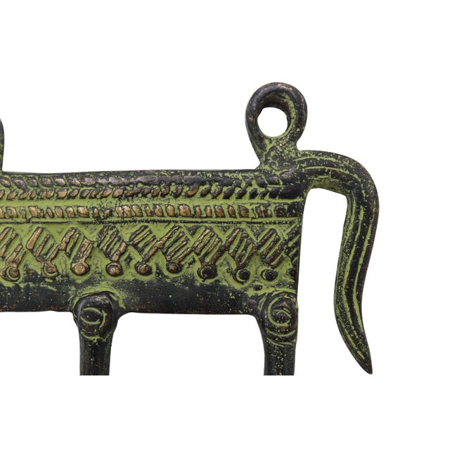 Rustic Bohemian Green Brass Camel Wall Hooks For Sale - Image 3 of 5