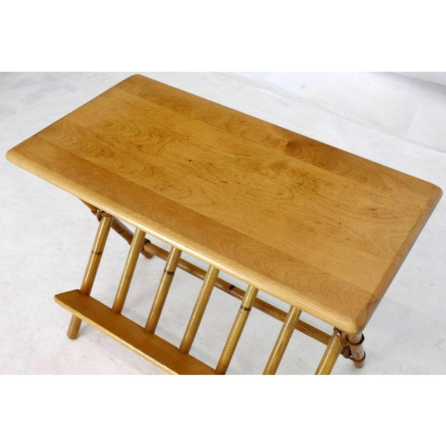 Pair of Faux Burnt Bamboo X-Base Rectangular Side End Tables With Magazine Rack For Sale - Image 10 of 12