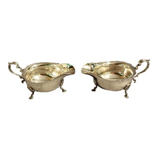 Early 20th Century English Silverplate Sauce Boats - a Pair For Sale