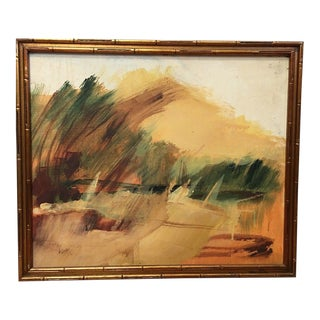 Vintage Mid Century Abstract Expressionist Oil Painting Landscape Gorgeous Bamboo Frame For Sale