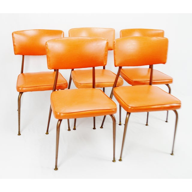 Mid-Century Modern Orange Dining Chairs - Set of 5 - Image 5 of 11