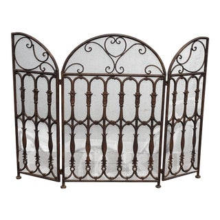 Vintage Spanish Style Brown Fireplace Screen W Scrolls For Sale