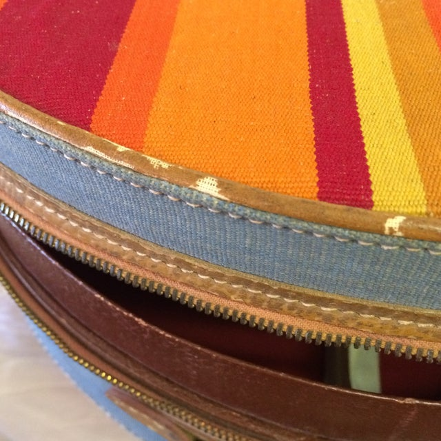 Vintage Round Carry on Suitcase With Stripes and French Train Label For Sale - Image 10 of 11