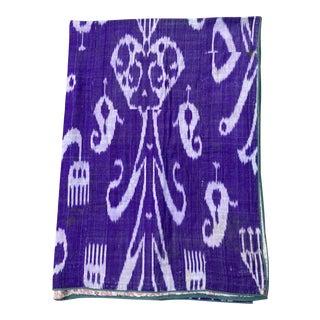 Purple Silk Ikat 19th Century Coverlet For Sale