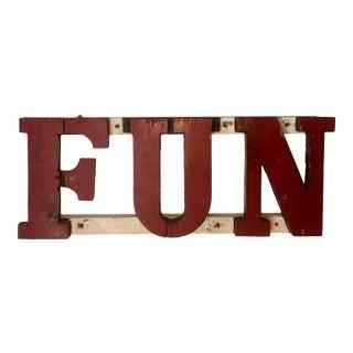 Antique Original Amusement Park Carnival Ride Wood Fun Sign Art For Sale