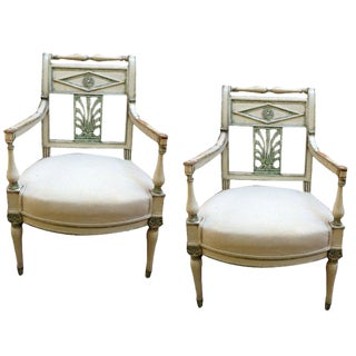 Pair of French Empire Painted Fauteuils