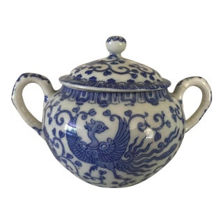 20th Century Chinoiserie Blue and White Asian Sugar Bowl For Sale