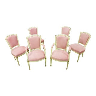 Set of Six Antique French Oak White Directoire Newly Upholstered Pink Raised Velvet Louis XVI Style Dining Chairs 2 Armchairs and 4 Side Chairs For Sale