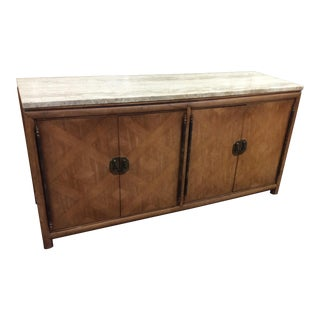 1960's Hollywood Regency Marble Top Credenza For Sale