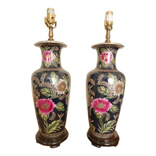 Navy Floral Ceramic Lamps - a Pair