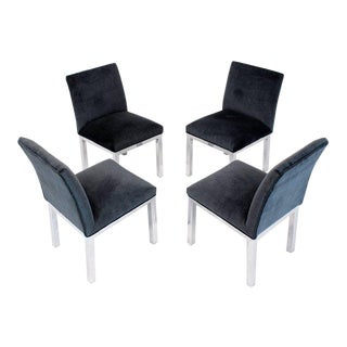 Set of Four Chrome and Mohair Upholstery Dining Side Chairs For Sale