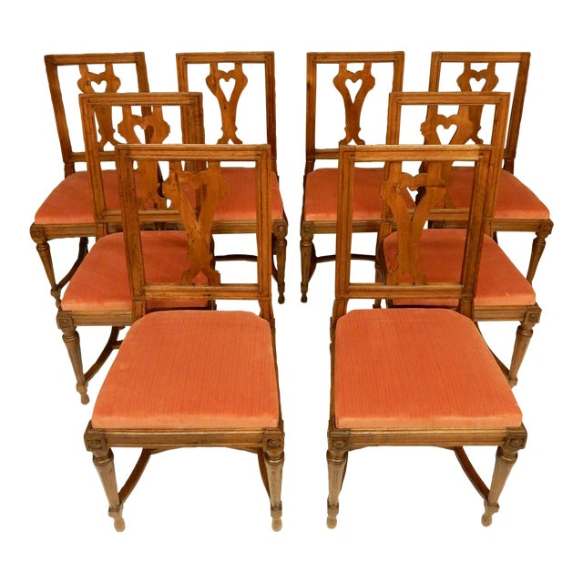 Eight 19th C Walnut Louis XVI Dining Chairs For Sale