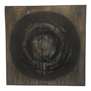 Kennan Del Mar 'Black Hole on Black' Painting, Oil and Pastel on Canvas For Sale